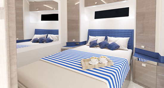 Hunton Yachts Custom Interior-Blue Color Scheme